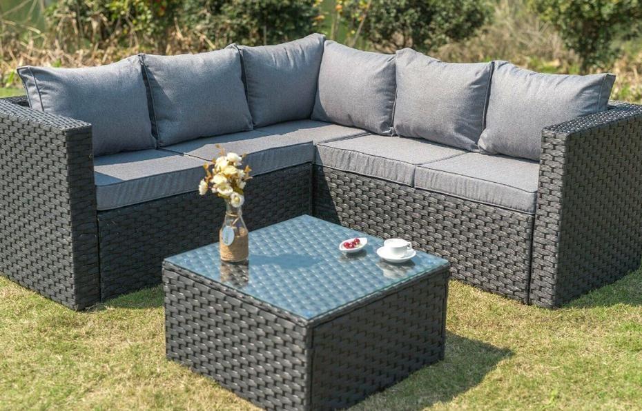 Yakoe Outdoor Rattan Garden Furniture 5 Seater Corner Sofa Patio Set Black For Sale Onli In 2020 Black Rattan Garden Furniture Rattan Garden Furniture Garden Furniture