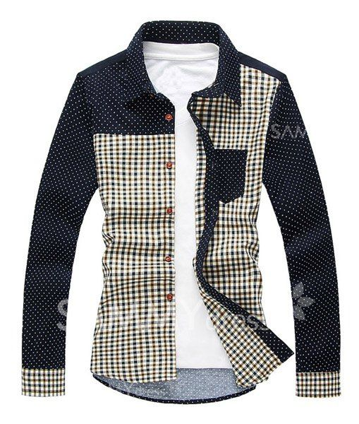 Korean Style Shirt Collar One Pocket Color Block Design Long ...