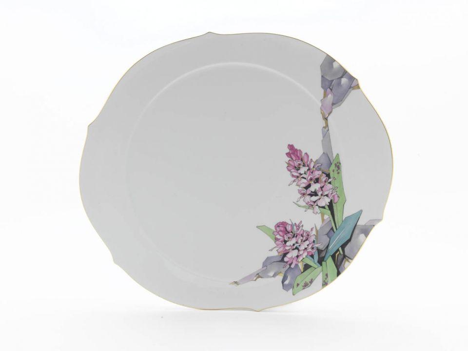 "Cake platter, Shape ""Waves pur"", Alpine flora, abstract, gold rim, ø 38,5 cm"