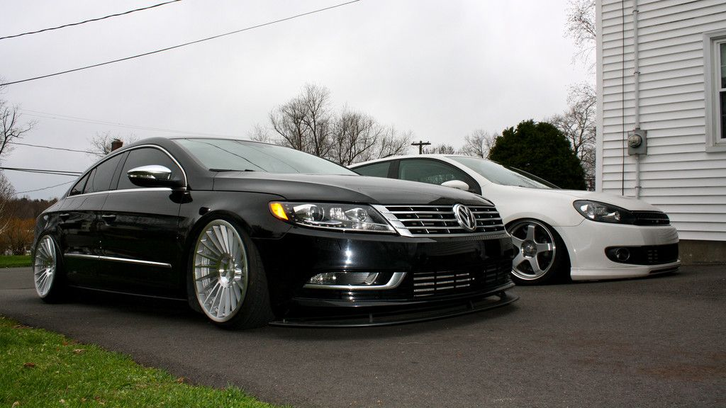 "2013 Bagged VW CC with 19"" Rotiform INDT and 2012 VW Golf"