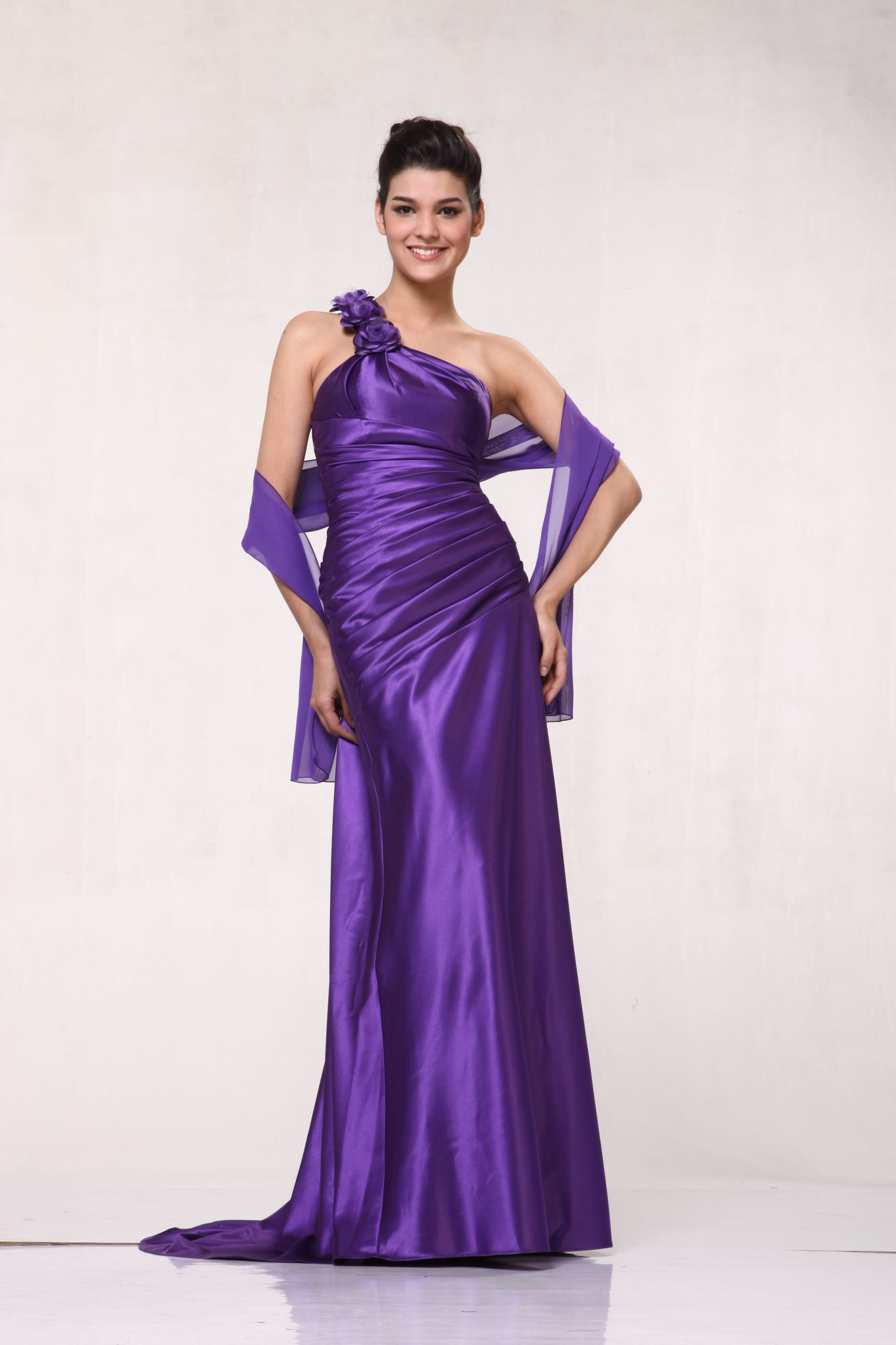 One Shoulder Floral Strap Long Bridesmaid, Prom & Homecoming Dress ...