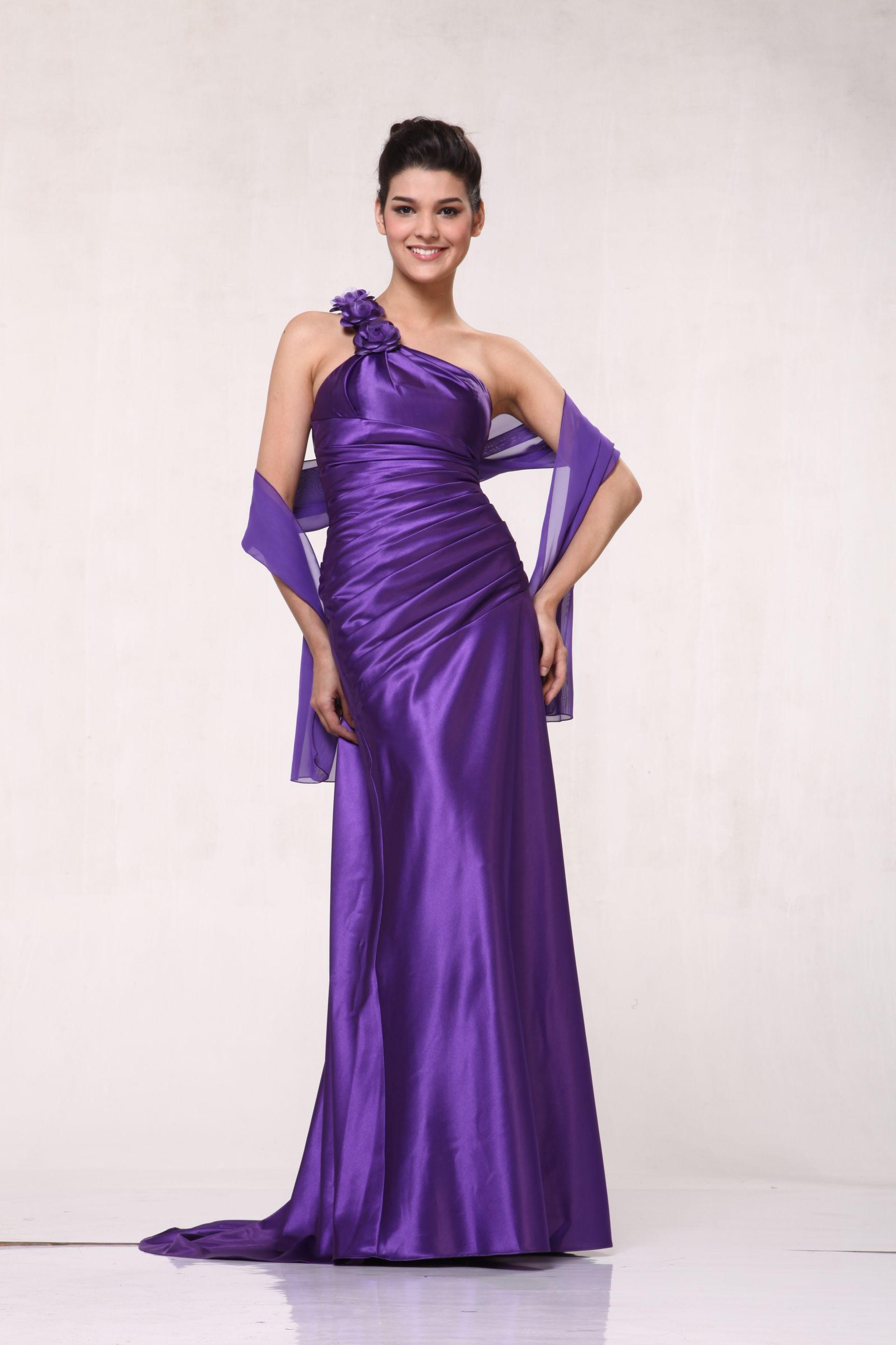 One shoulder floral strap long bridesmaid prom u homecoming dress