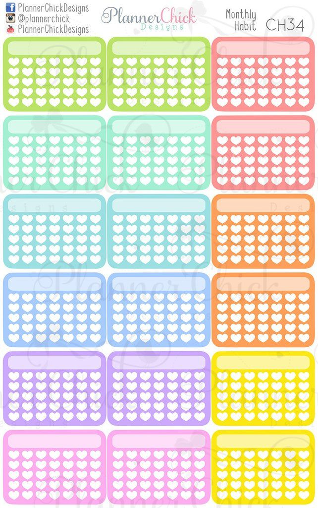 Monthly Habit | PCD Stickers! | Pinterest | Planner ...