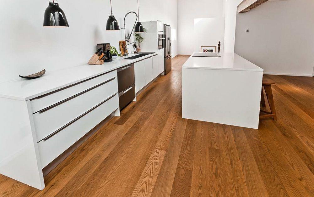 Red Oak Wide Plank Kitchen Flooring