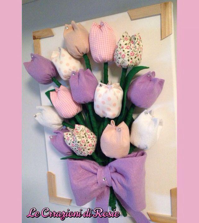 Quadro con tulipani di stoffa | quadri feltro | Pinterest ...