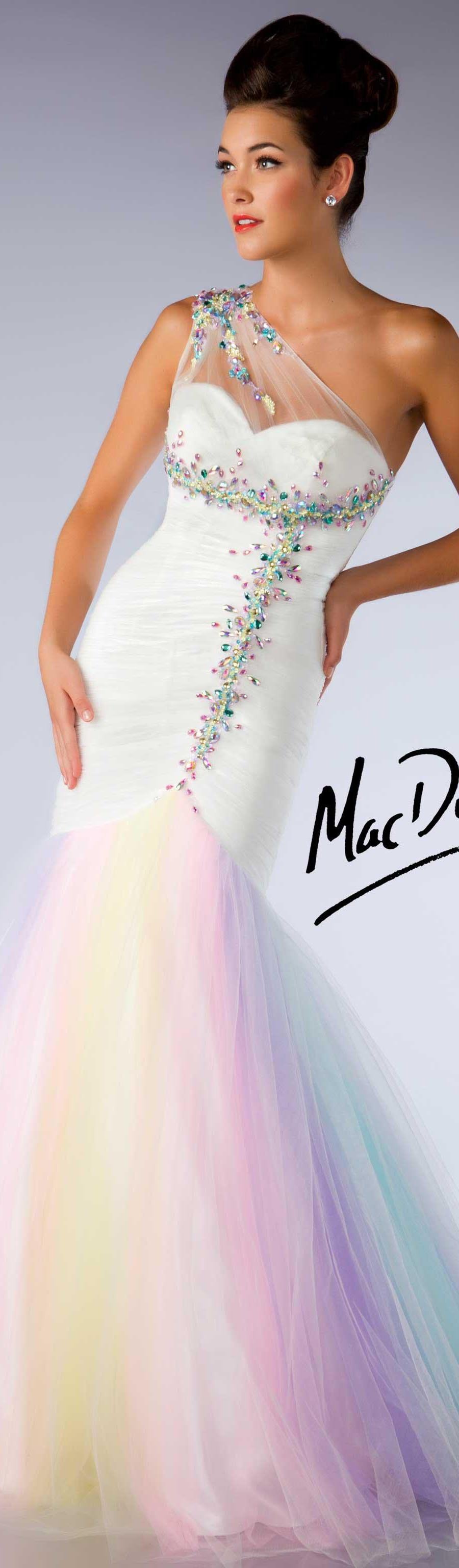 Mac duggal couture dress pastel oneshoulder white pastel long