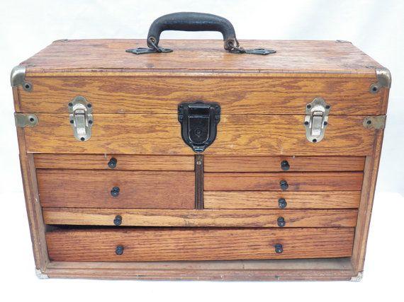 Vintage ~ Antique Oak Wood Box ~ Beautiful Burgundy Felt Lining ~