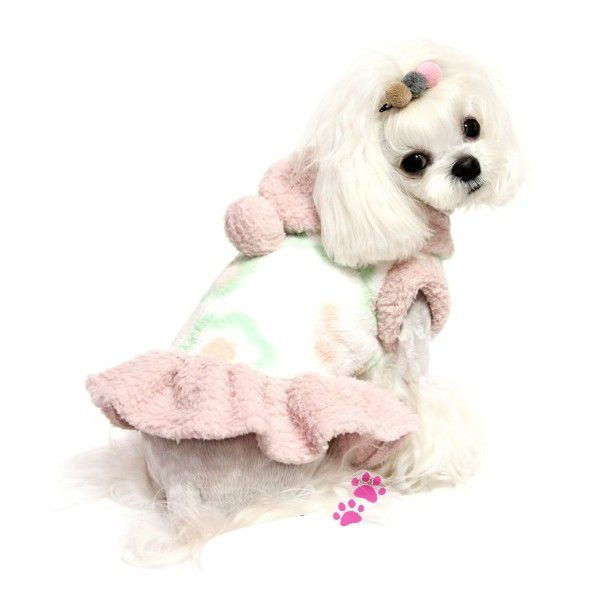 POM POM HOODED DOG DRESS