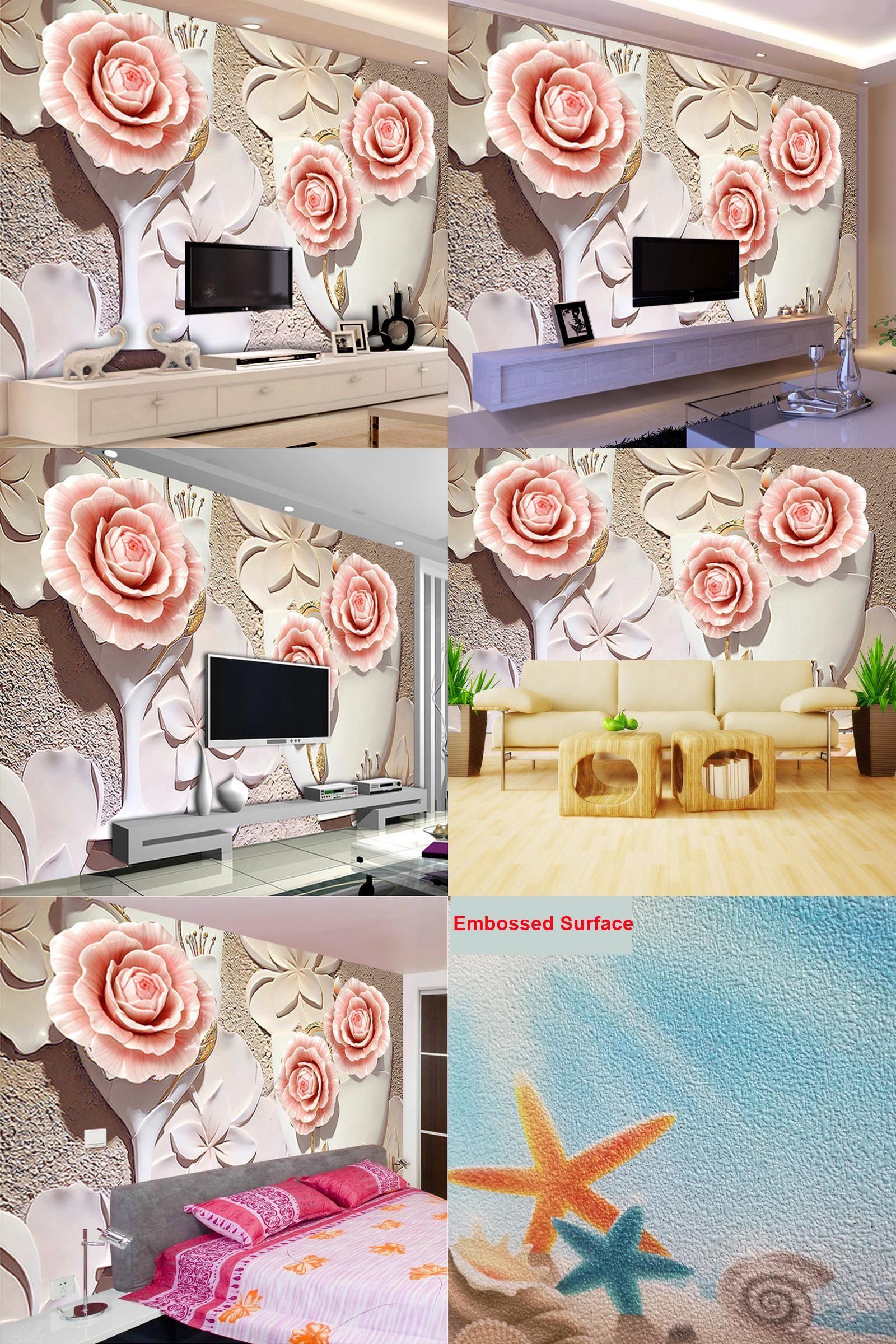 Visit To Buy Custom Photo Wallpaper 3D Embossed Flower Wall
