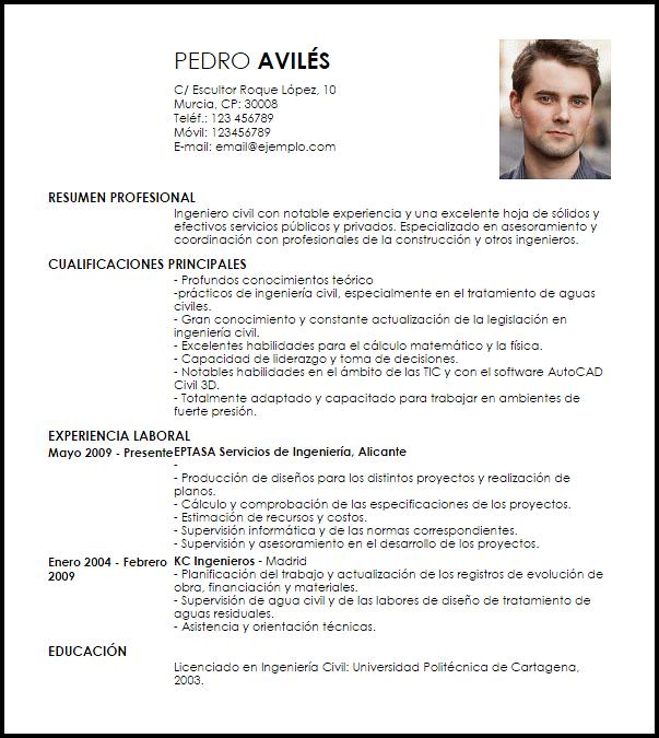 Modelo Curriculum Vitae Ingeniero Civil Curriculum Vitae