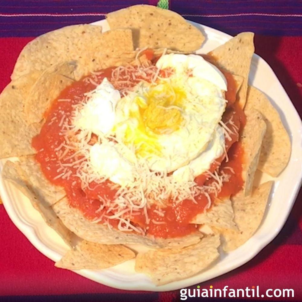 Receta de chilaquiles mexicanos para niños.