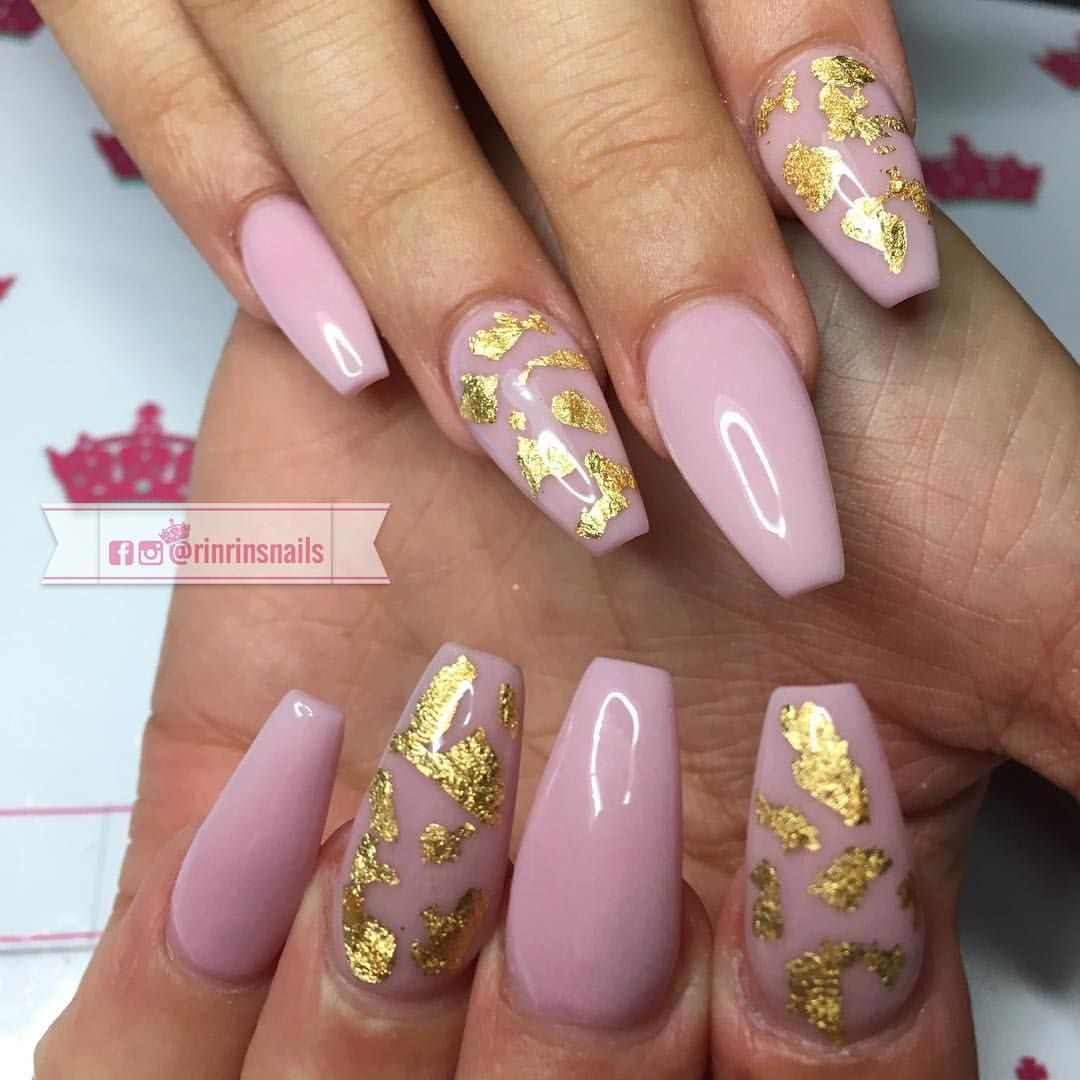 light pink with gold foil flake nailz | nails | pinterest | flakes