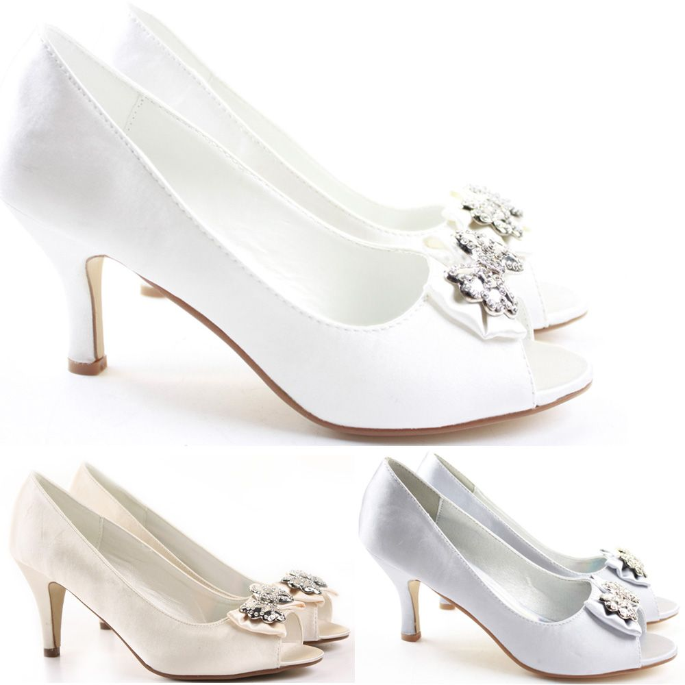 ba4298bbe29 Womens-Wedding-Shoes-Peeptoe-Party-Sandals-Stiletto-Low-Mid-Kitten-Heel-Size