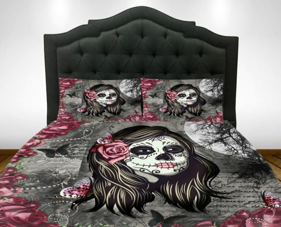 Gray And Deep Red Sugar Skull Comforter Or Duvet Cover With Pillow