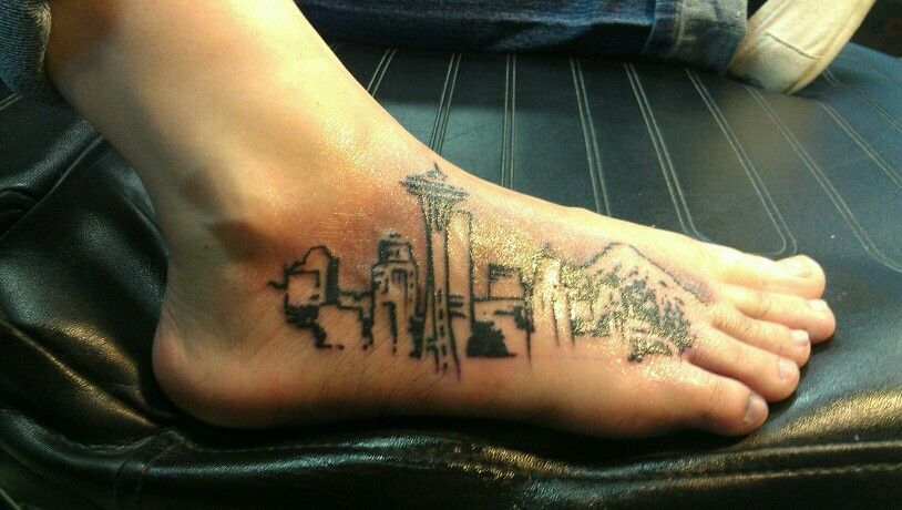 Seattle skyline for my leg i think so sick tattoos for Tattoo parlors seattle