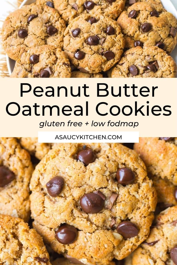 Flourless Peanut Butter Oat Cookies made with only 8 ingredients + one bowl | #GlutenFree + #LowFODMAP #PeanutButterCookies #PeanutButterRecipes #GlutenFreeCookies #GlutenFreeSnacks #Cookies