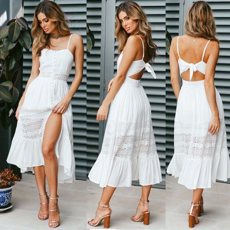 Uk Womens Summer Holiday Beach Bardot Button Through Ladies Sun Dress Size 6 14 Ebay White Dress Summer White Boho Dress Maxi Dress Evening