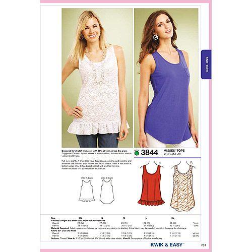 Kwik Sew Pattern Tops XS S M L XL Crafts Walmart I Magnificent Walmart Dress Patterns