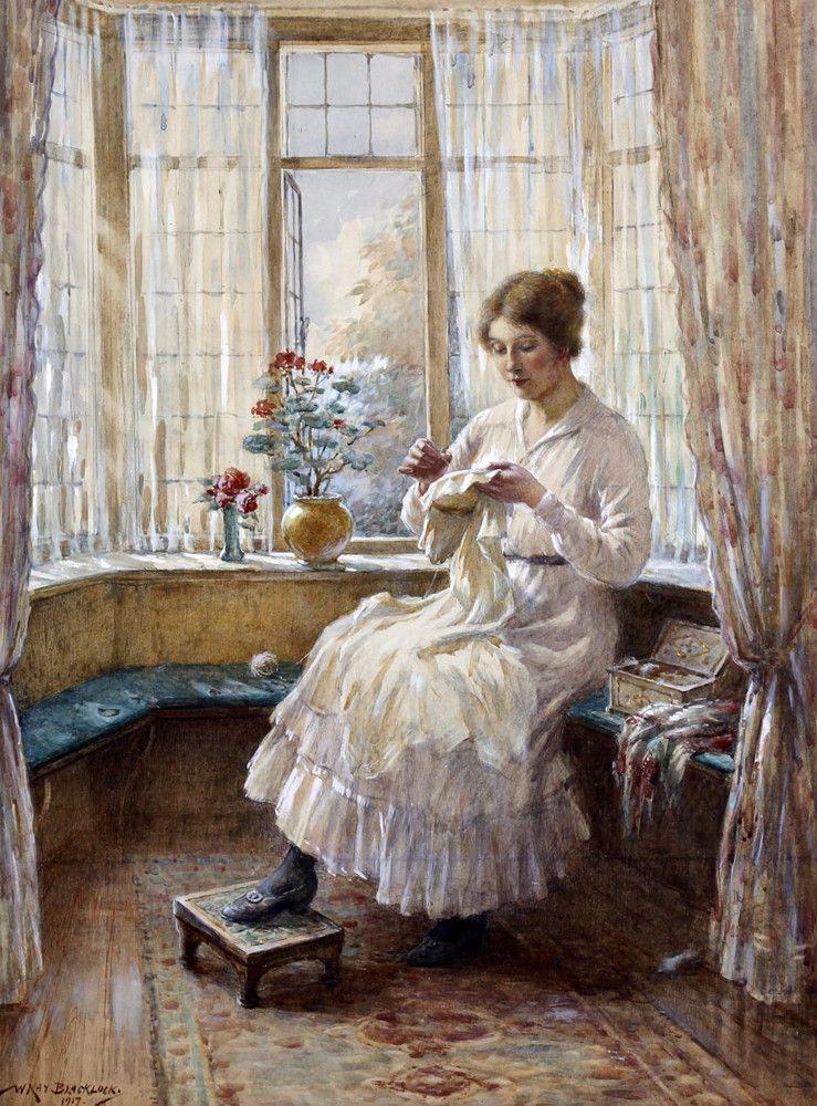 Lady Sewing Seated By A Window By William Kay Blacklock Fine Art Print Art Sewing Art Stitching Art