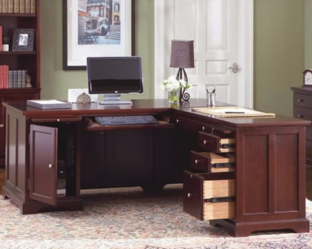 L Shaped Home Office Desk Bookcase  File 3 piece set  Home