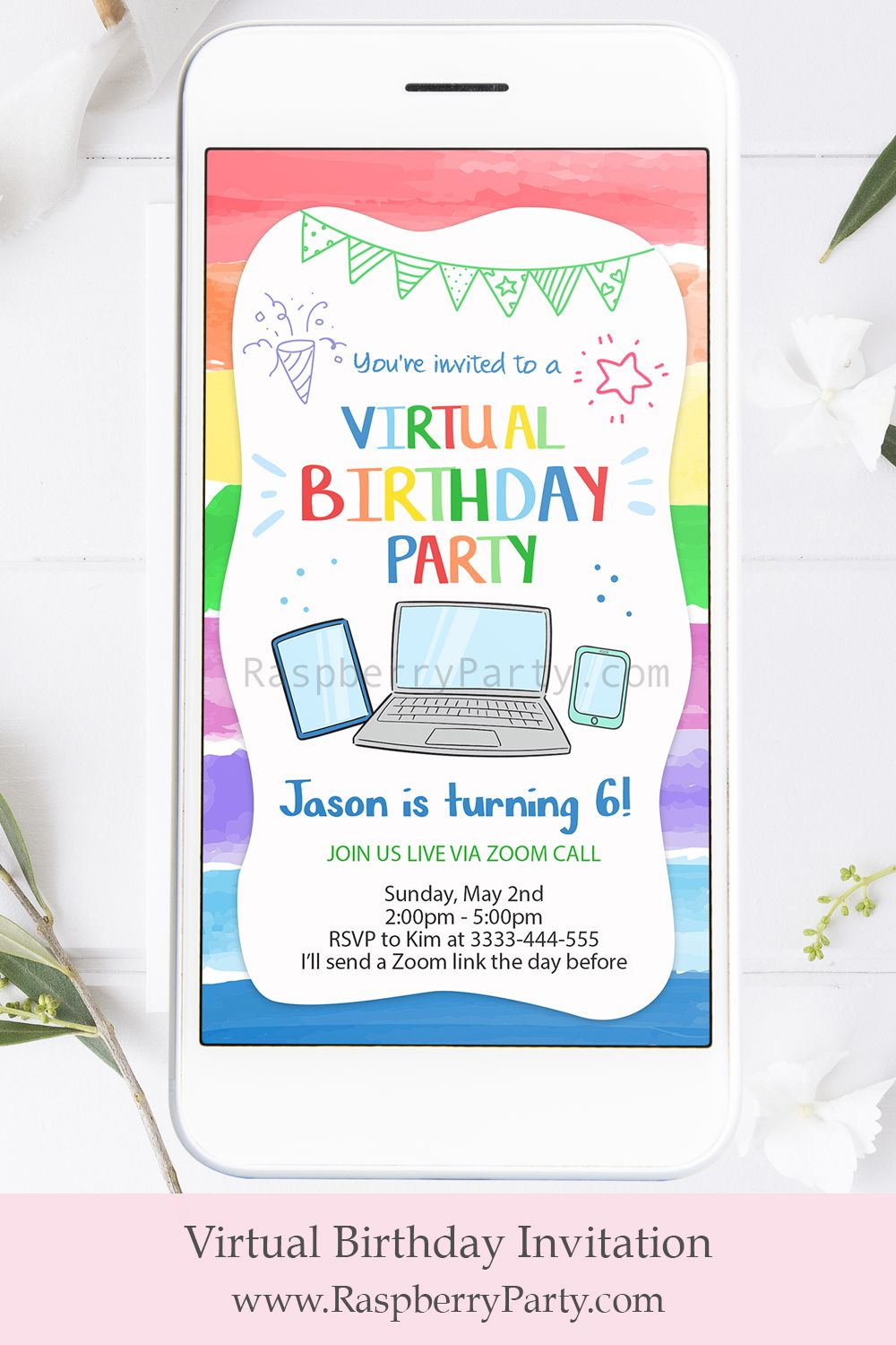 Colorful Virtual Party Invitation in 2020 Birthday