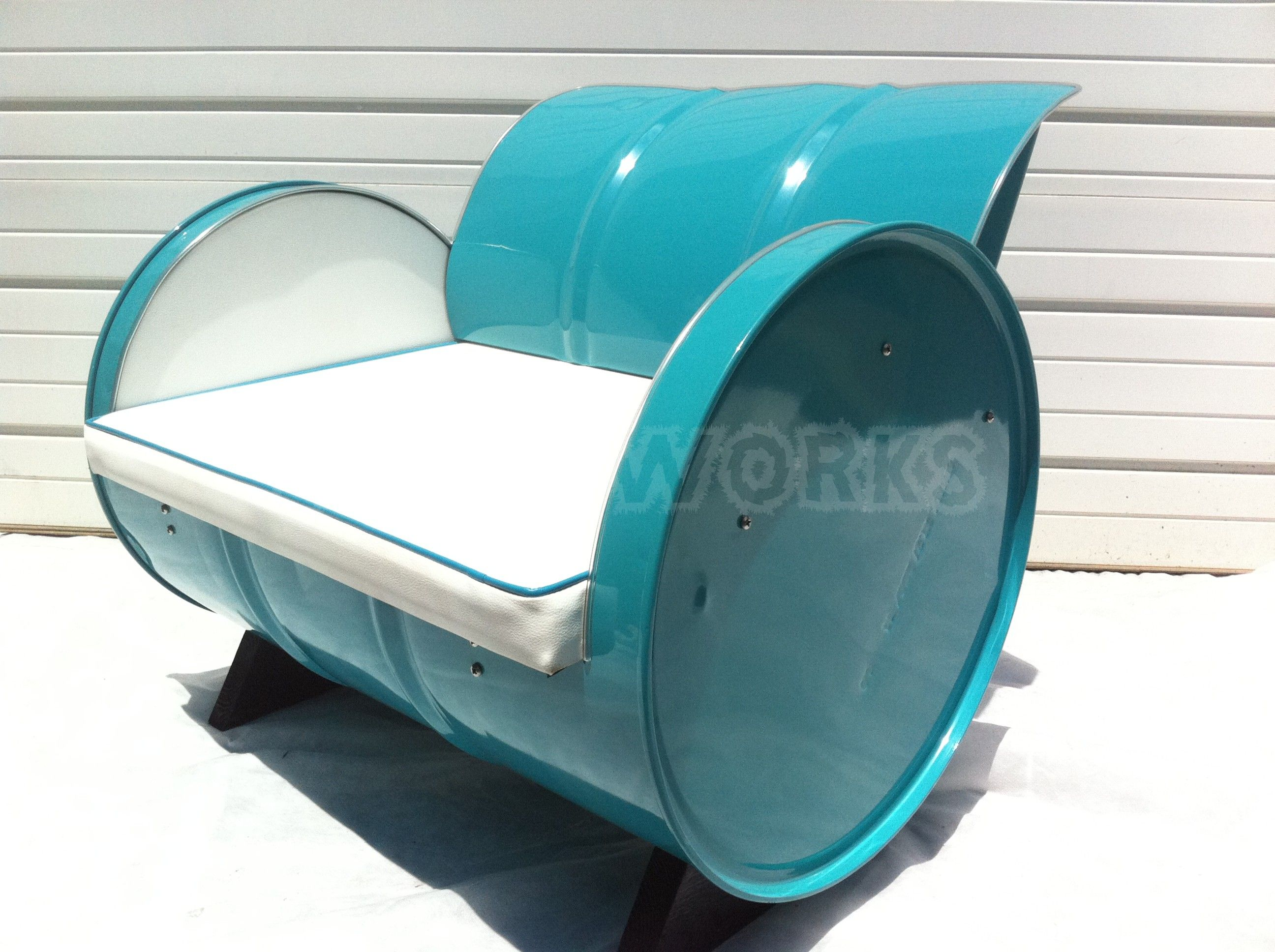 Recycled 55 gallon drum arm chair. Turquois powder coat with ...