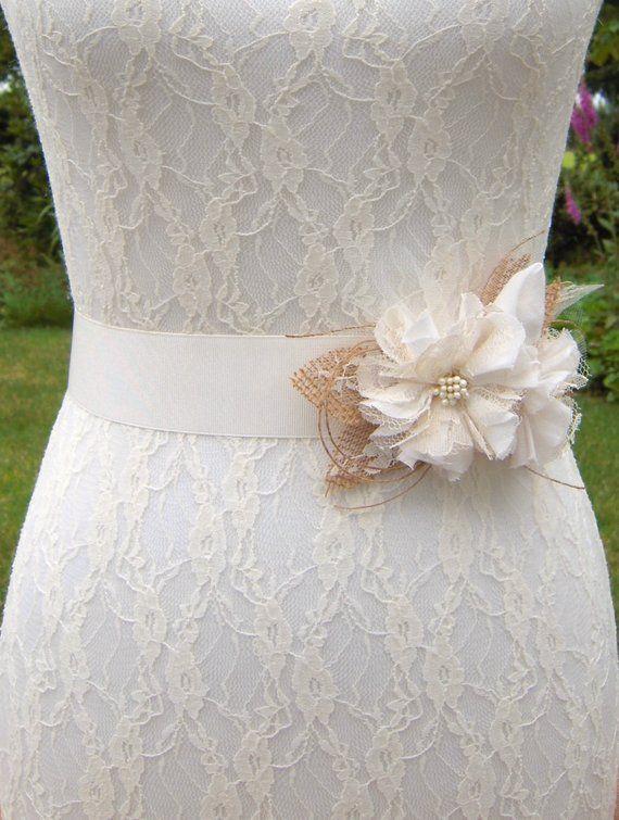 Burlap Lace Wedding Dress with Belt