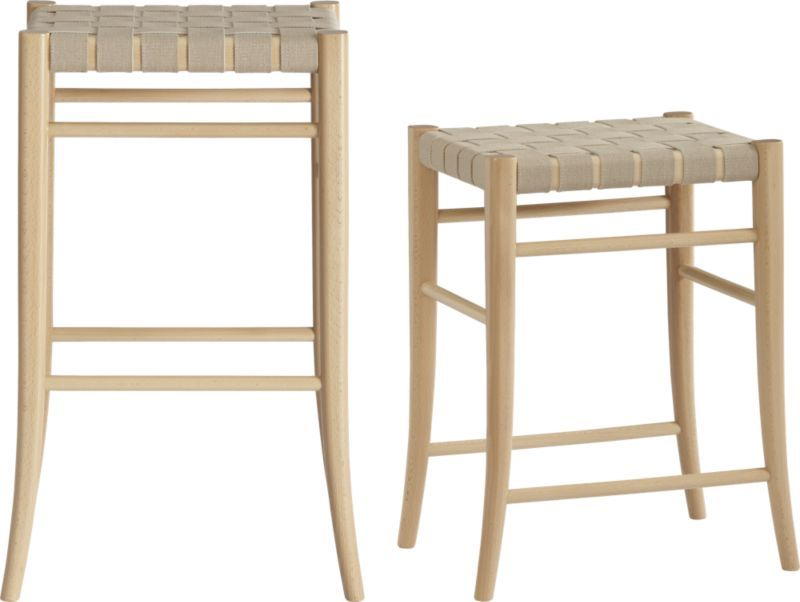 Oslo Natural Backless Barstools Crate Barrel Backless Bar