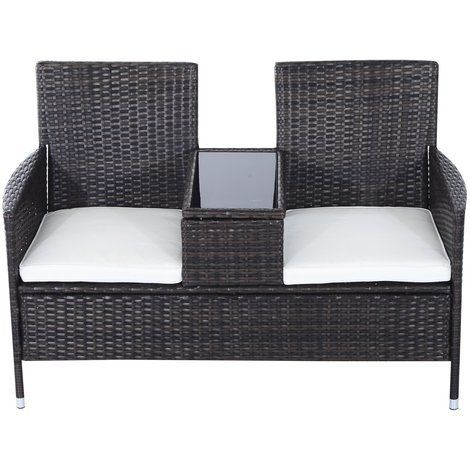 Nice Outsunny Garden Rattan 2 Seater Companion Seat Wicker Love Seat Weave  Partner Bench W/ Cushions