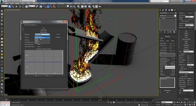 This time I'll take a look at creating a burning liquid simulation. I'll basically create a liquid and I'll use that as a source for a fire simulation.