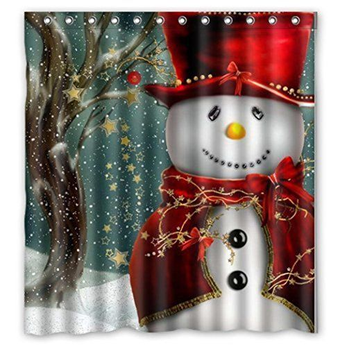 Christmas Shower Curtains Inkach Waterproof Fabric Snowm