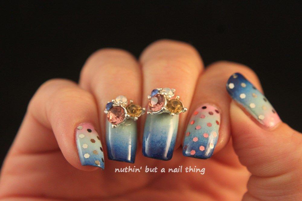 Diamante Nail Art Design Idea