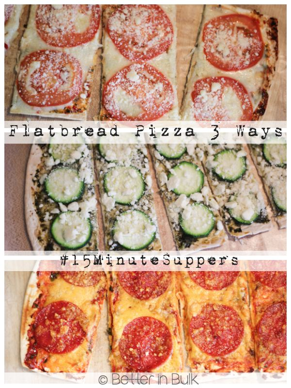 Flatbread Pizzas – 3 Varieties in 15 Minutes {Zucchini-Feta, Tomato-Provolone, and Pepperoni-Cheese} #15MinuteSuppers #sp