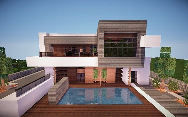 Squared Modern Home Design Building Ideas Patio Pool 5 Minecraft