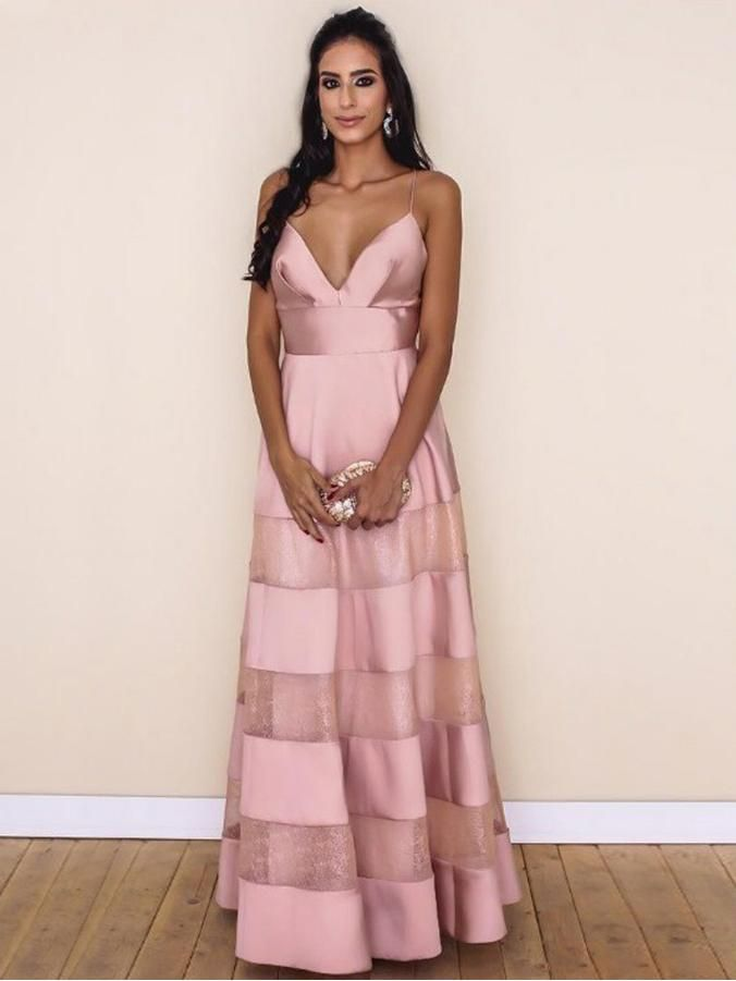 Sexy Prom Dresses A Line Spaghetti Straps Floor-length Lace Pink ...