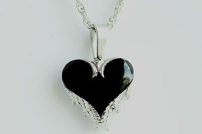 Cremation Angel Wings Heart Black Inlay Urn Jewelry