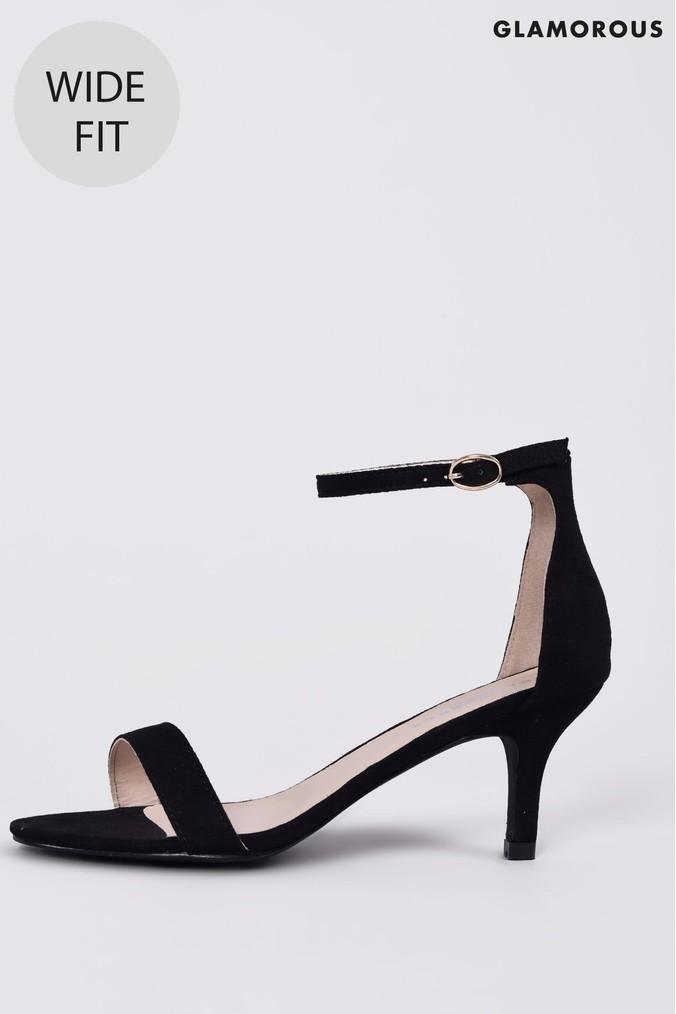 Womens Glamorous Patent Wide Fit Mid Heel Sandals Black Mid Heel Sandals Black Sandals Heels Sandals Heels