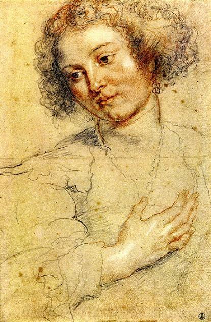 Helen Fourment - portrait drawing by Peter Paul Rubens