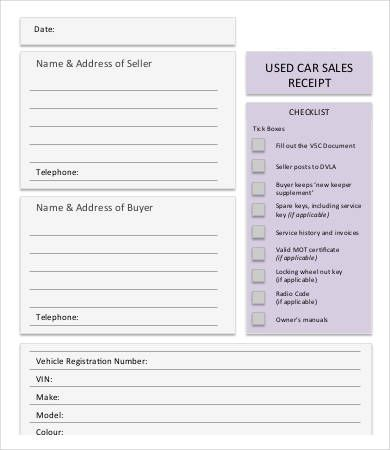 Used Car Sales Receipt Template ppp Pinterest Receipt template