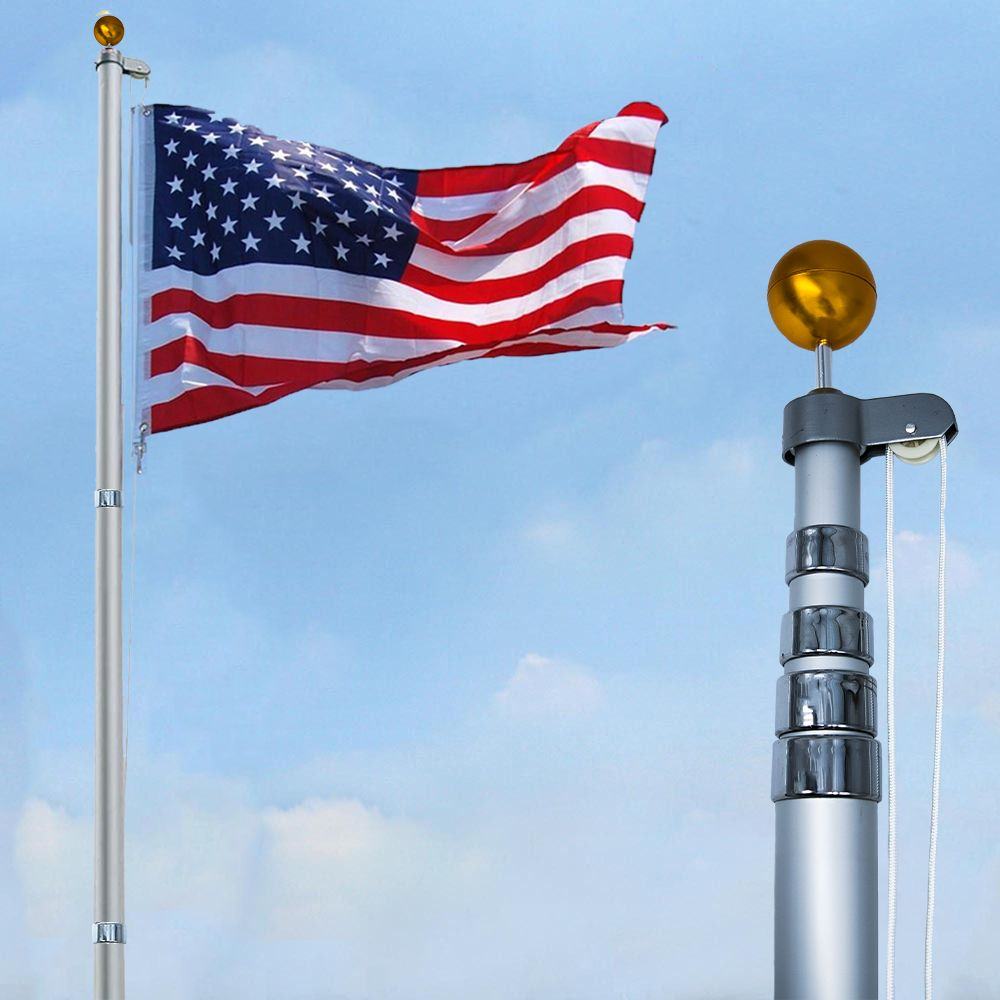 For Side Of The Building 5 Ft Flag Pole W 2 X3 American Flag Lighted On Lanyard With Cleat Near Sign Flag Pole American Flag Holiday Flag