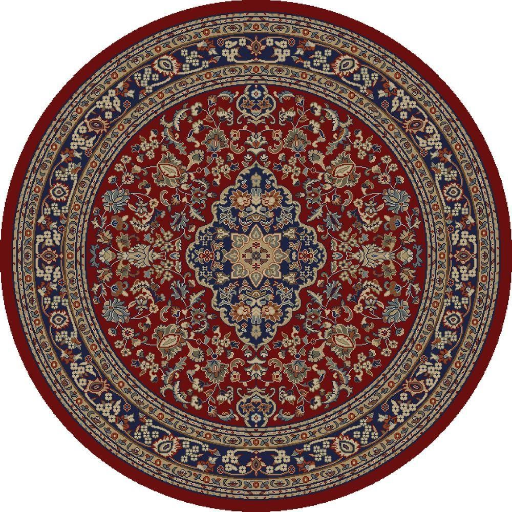 Concord Global Trading Jewel Heriz Red 5 Ft Round Area Rug 41000