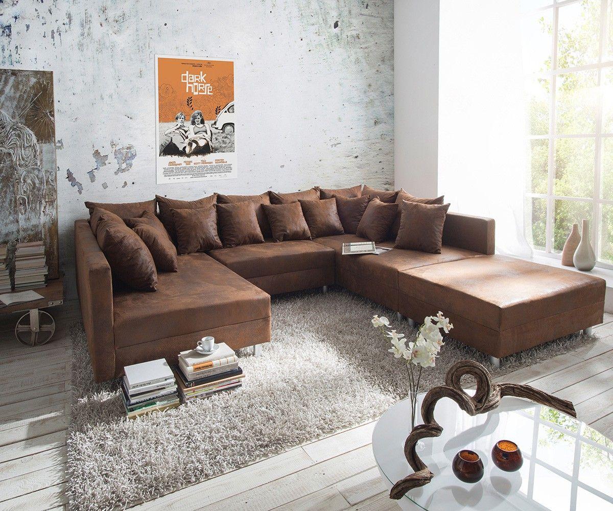 Couch Clovis XXL Braun 300x185 Cm Mit Hocker Und Kissen   Wie Gehabt Nur In  Microvelour