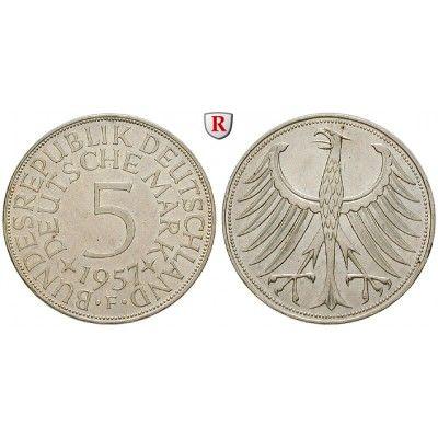 Bundesrepublik Deutschland, 5 DM 1957, F, vz, J. 387 5 DM