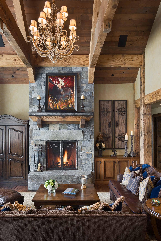 Rustic Elegance In Montana Home Fireplace Rustic Living Room
