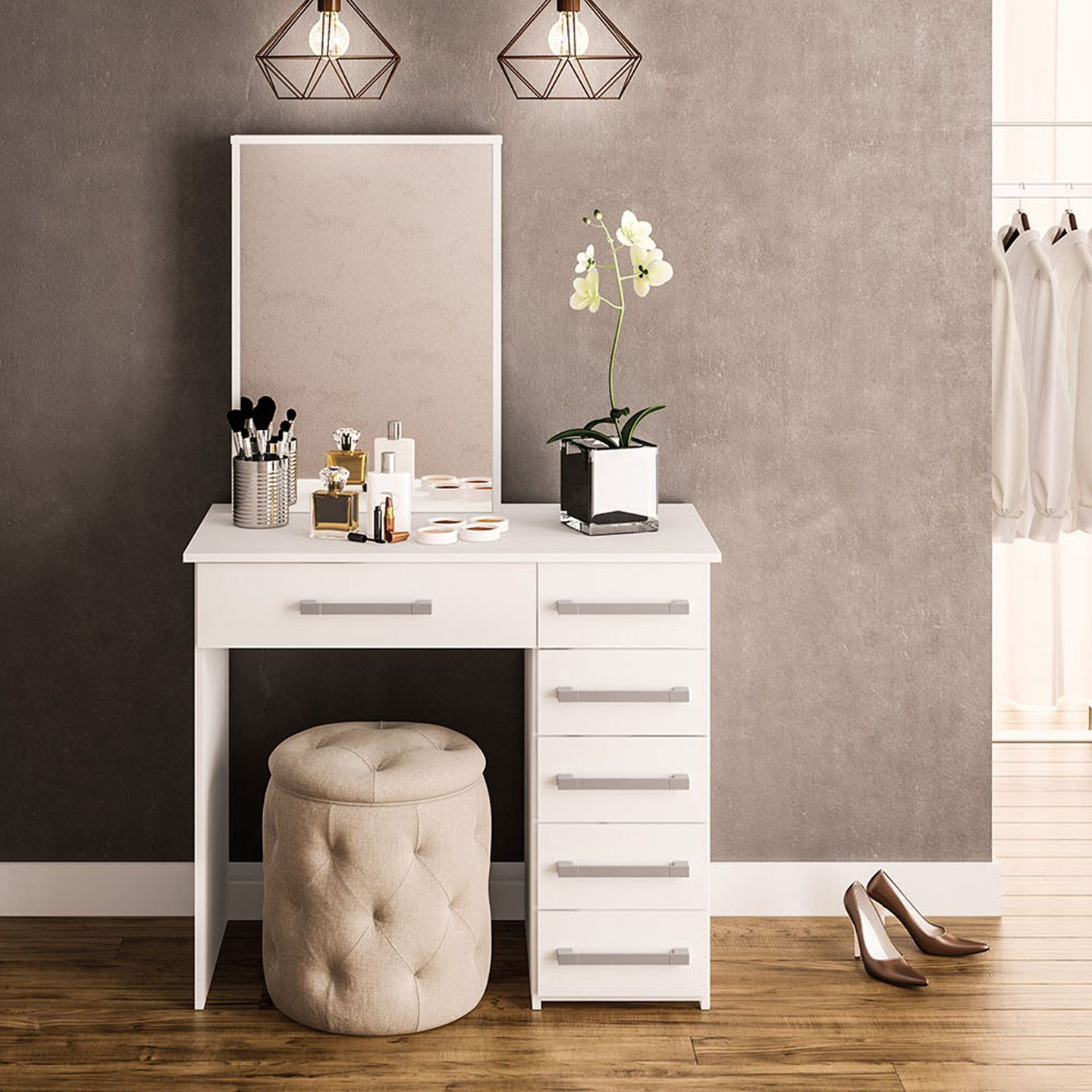 Boahaus Sofia Modern Vanity Table With Mirror And 6 Drawers White Finish Walmart Com In 2020 Modern Vanity Table White Dressing Tables Vanity Table