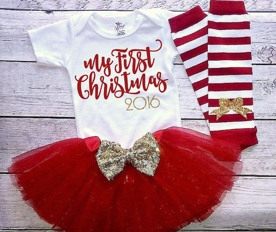 Baby girl christmas outfit-My First Christmas by DaliceDesigns