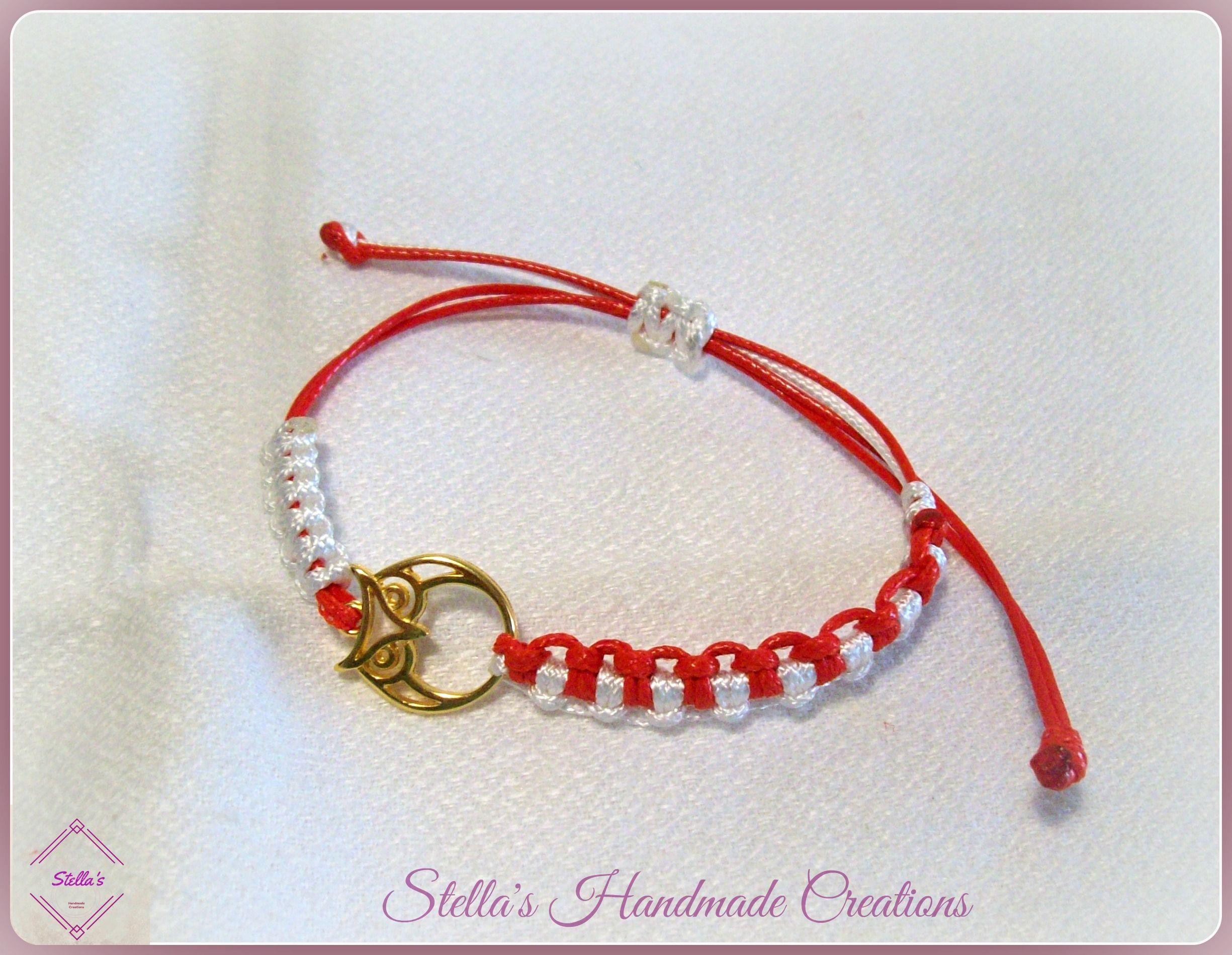 March macrame bracelet with owl Βραχιόλι μάρτης μακραμέ με κουκουβάγια dddda9e5204