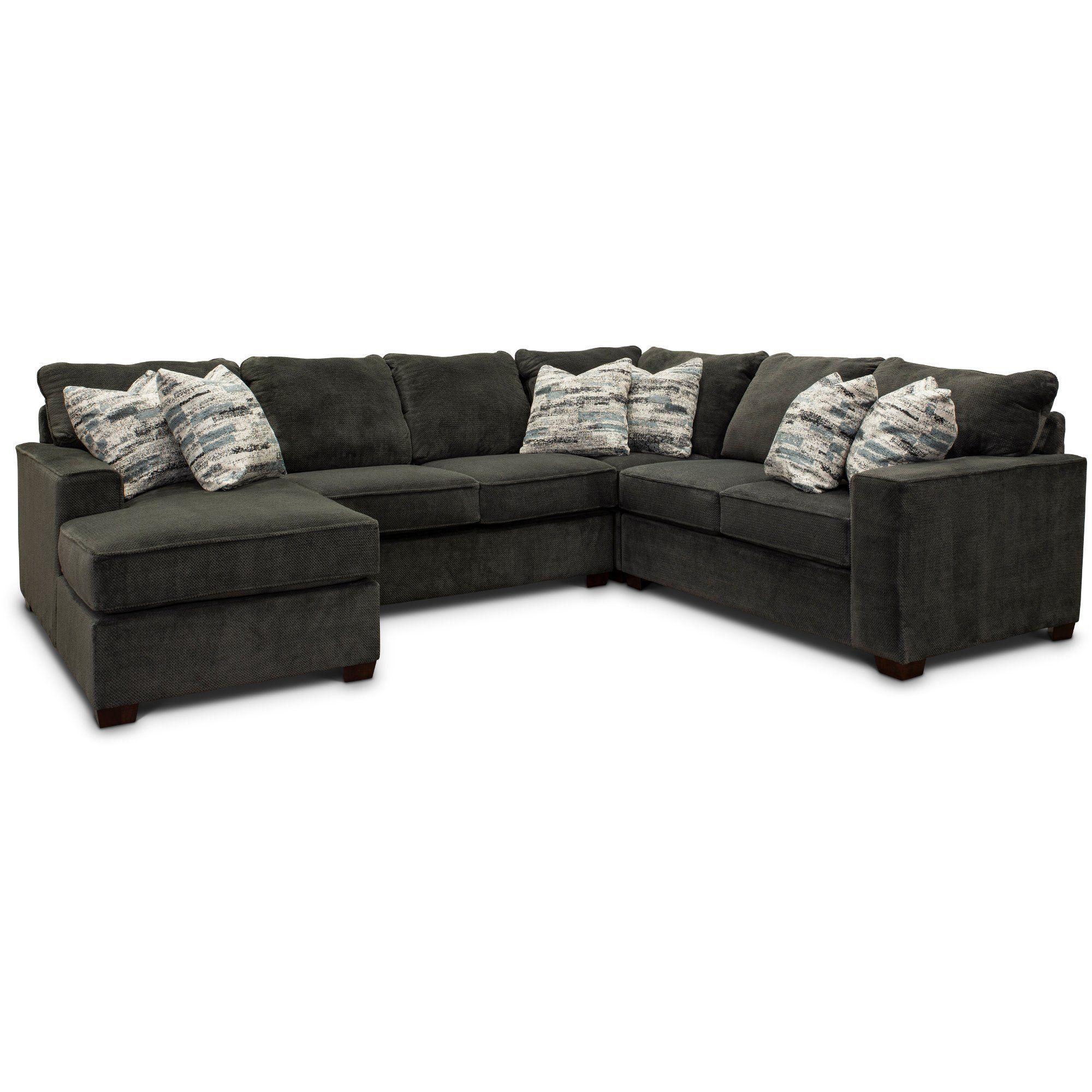 Dark Gray 4 Piece Sectional Sofa With Raf Loveseat Autumn