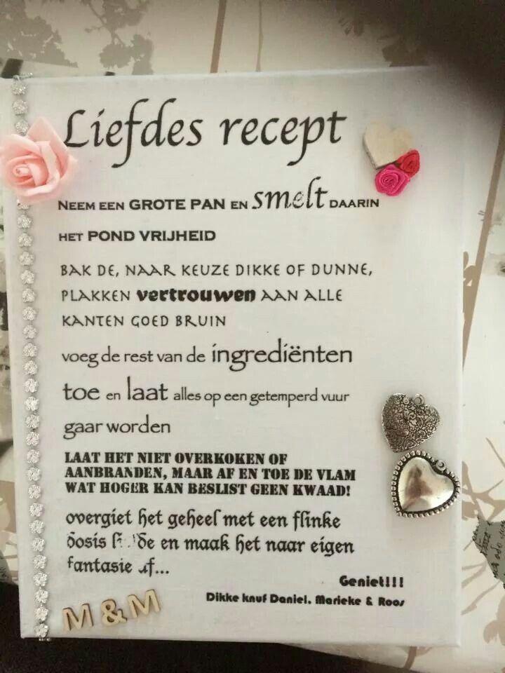 Liefdes recept bruiloft cadeau ideeën pinterest