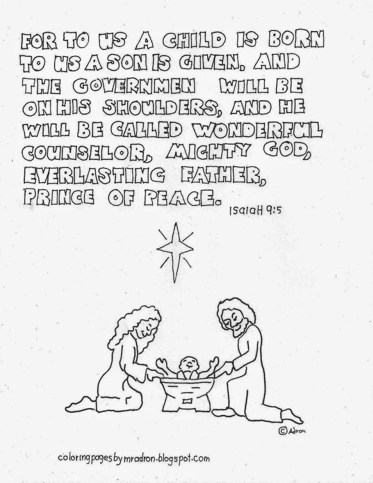 Printable Christmas Bible Verse Coloring Page Isaiah 9 5